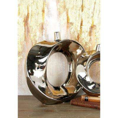 14 in. Modern Silver Hollow-Centered Ceramic Decorative Vase