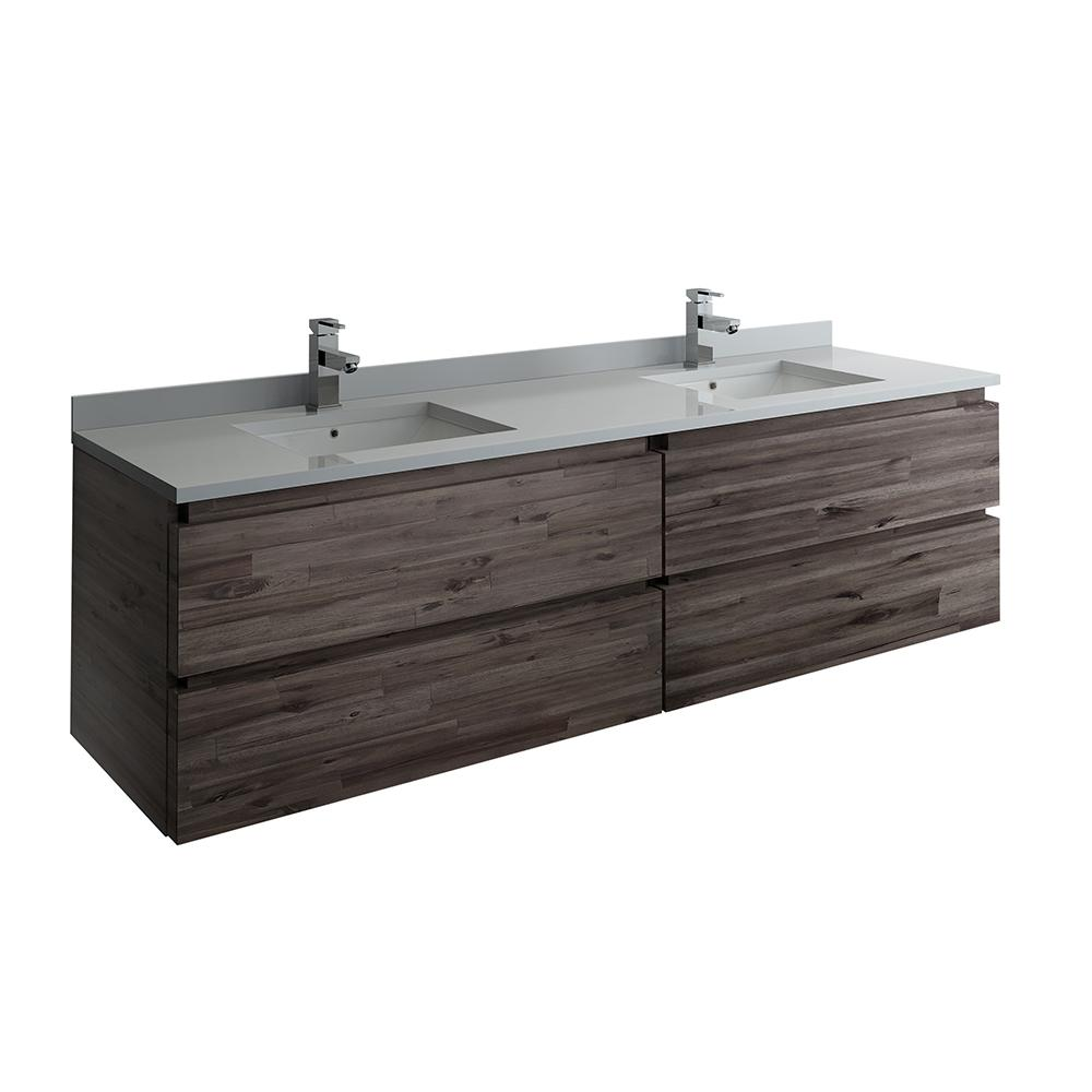 Modern Double Wall Hung Vanity In Warm Gray With Quartz Stone
