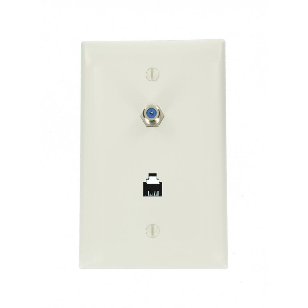 midway 6p4c and f connector telephone/video wall jack, white