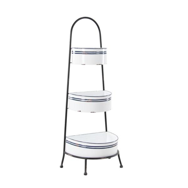 Country Cottage Distressed White Metal Rack with Navy Stripes, 14'' x 38''