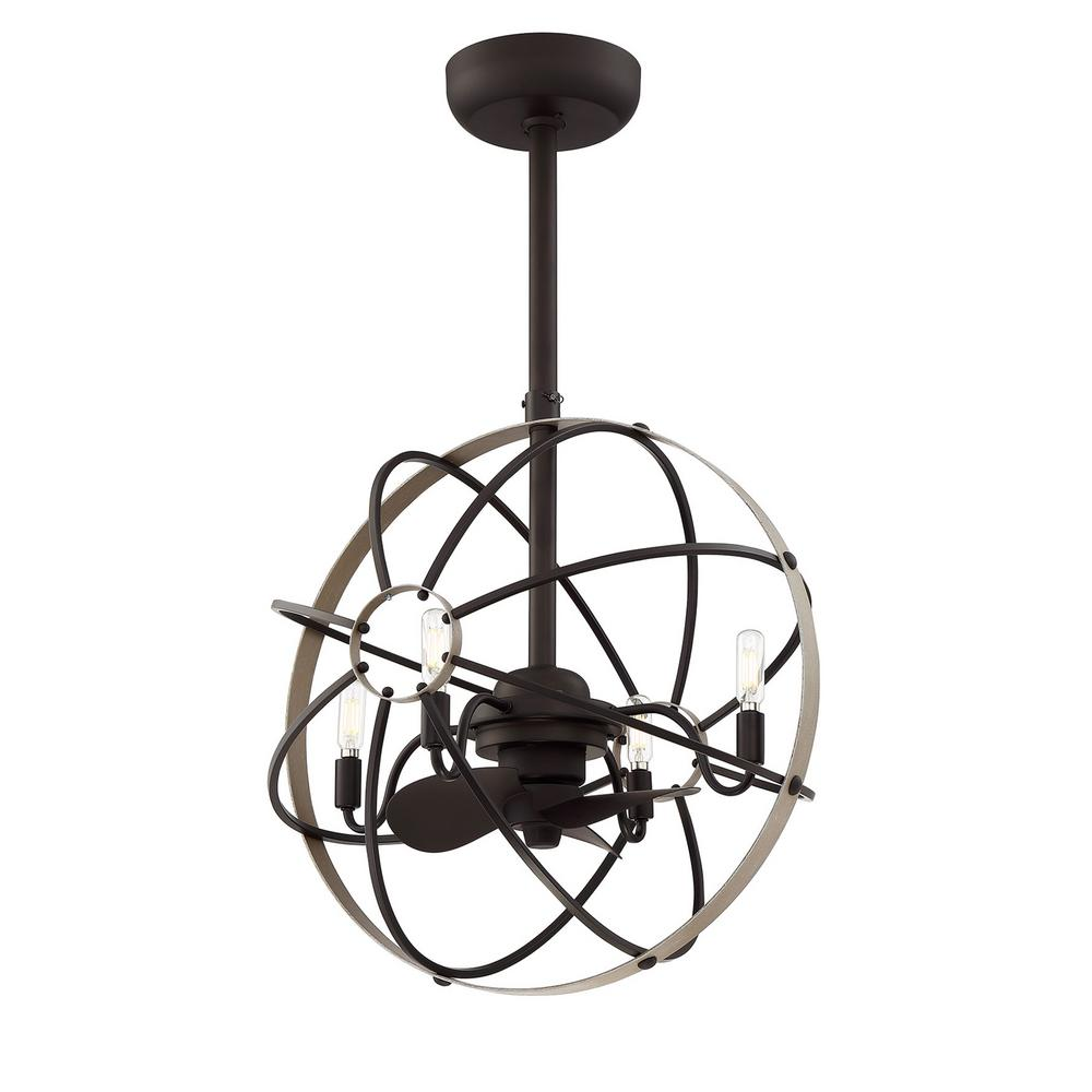 Fifth and Main Lighting Atlas 21.5 in. Indoor Aged Bronze Ceiling Fan with Light and Remote Control