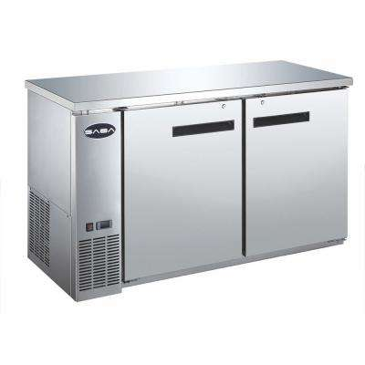 60 in. W 15.8 cu. ft. Commercial Solid Door Under Back Bar Cooler Refrigerator in Stainless Steel