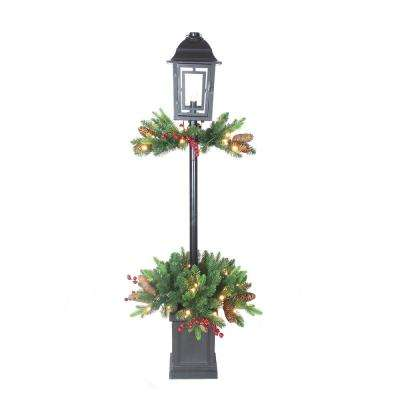 4 ft. Pre-Lit LED Mix Pe Berry Potted Artificial Christmas Lantern with 50 Warm White Lights