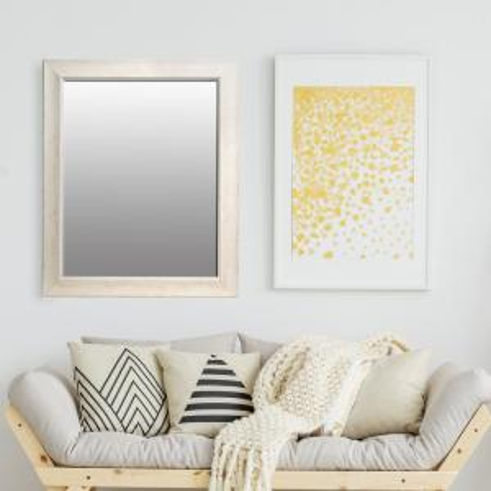 Bainbri Rectangular White Washed Wall Mirror
