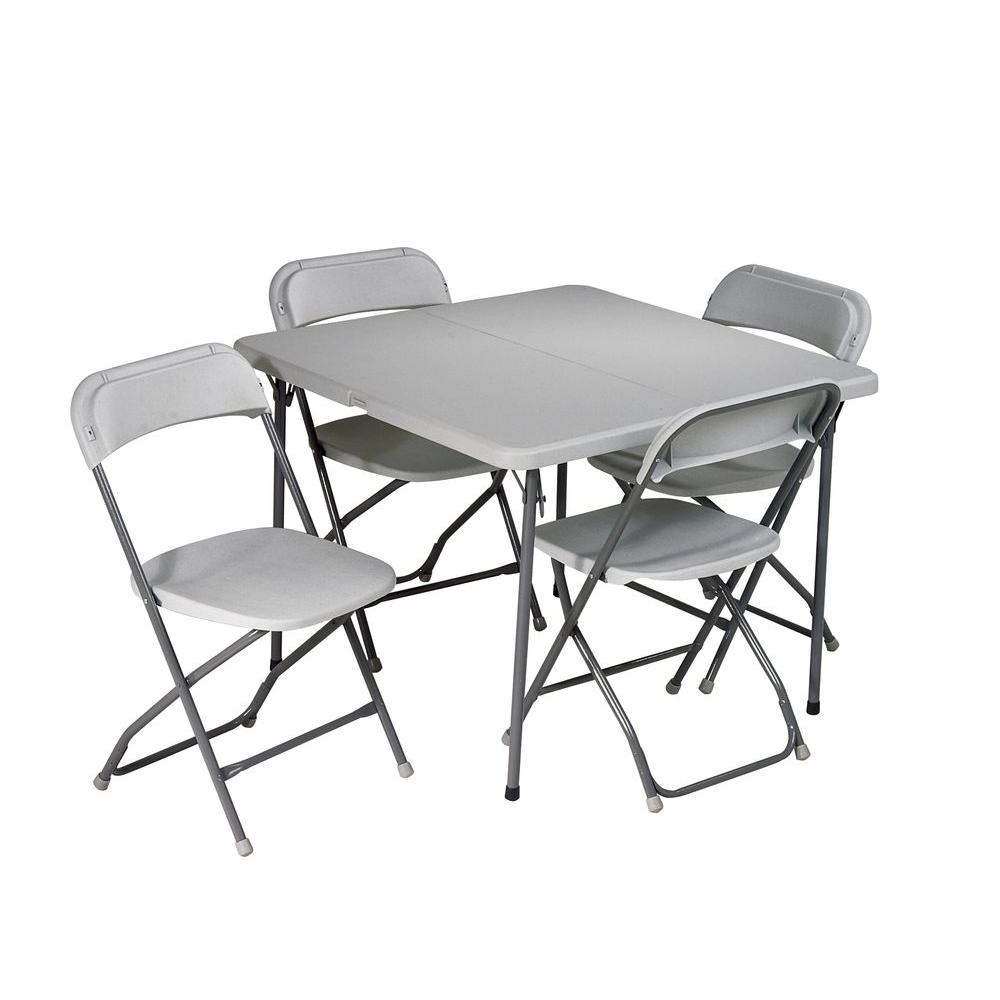 Work Smart 5-Piece Grey Folding Table and Chair Set-PCT-05 - The ...