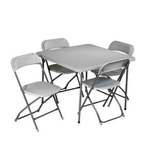 Work Smart 5 Piece Grey Folding Table And Chair Set