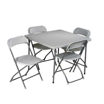 5 Piece Grey Folding Table And Chair Set