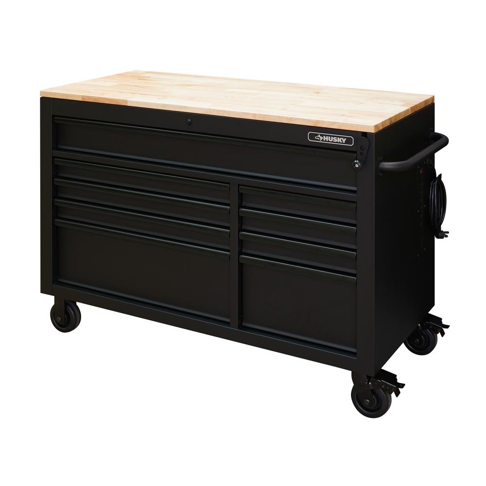 52 in. 9-Drawer 24.5 in. D Mobile Workbench with Adjustable Height