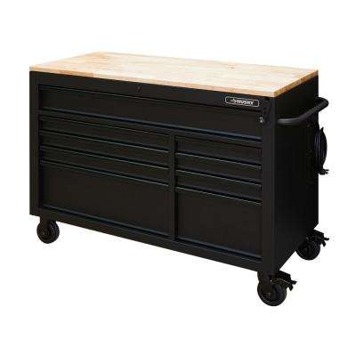 52 in. 9-Drawer 24.5 in. D Mobile Workbench with Adjustable Height Solid Wood Top in Matte Black