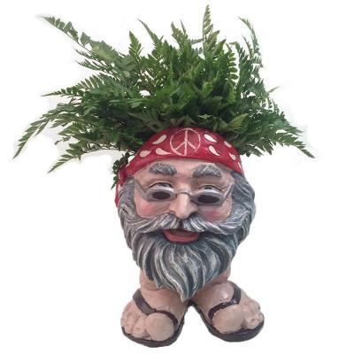13 in. H Hippie Jerry Painted Muggly Face Planter in Groovy 1960's Attire Statue Holds 4 in. Pot
