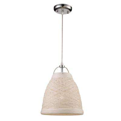 Basketweave 14 in. 1-Light White Indoor Pendant