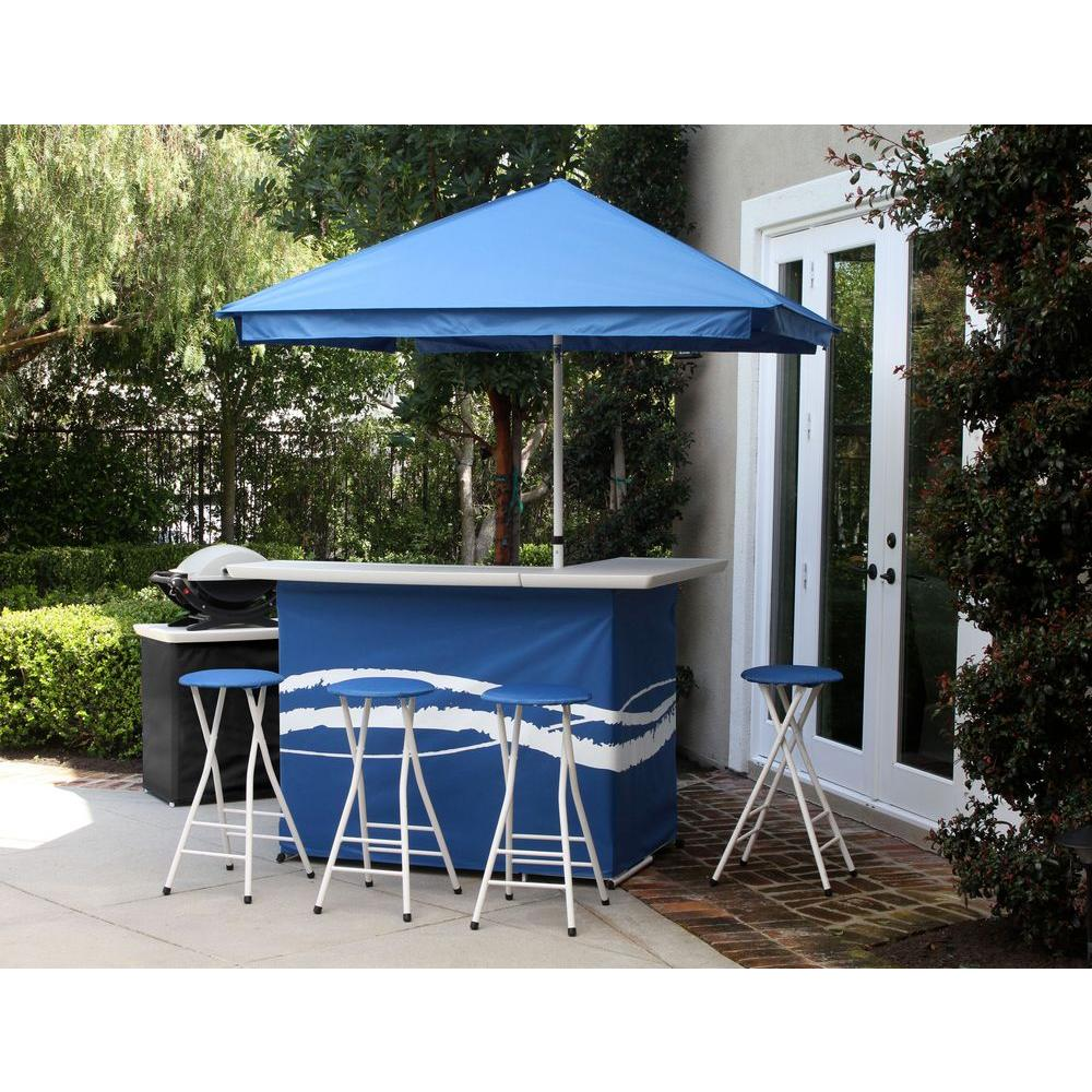 Classic Blue 6 Piece All Weather Patio Bar Set With 6 Ft. Umbrella