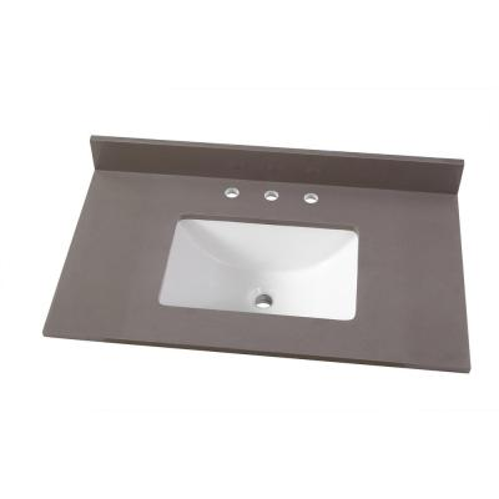 37 in. W x 22 in. D Engineered Marble Vanity Top in Slate Grey