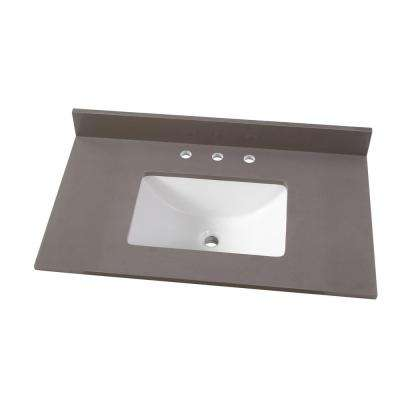 37 in. W x 22 in. D Engineered Marble Vanity Top in Slate Grey