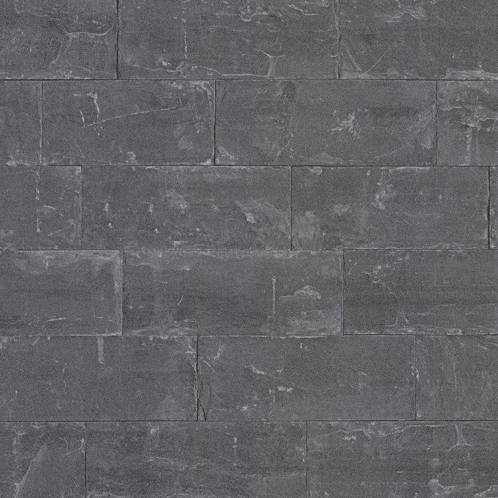 Advantage 56.4 sq. ft. Sacramento Black Seamless Slate Wallpaper 2774-414639