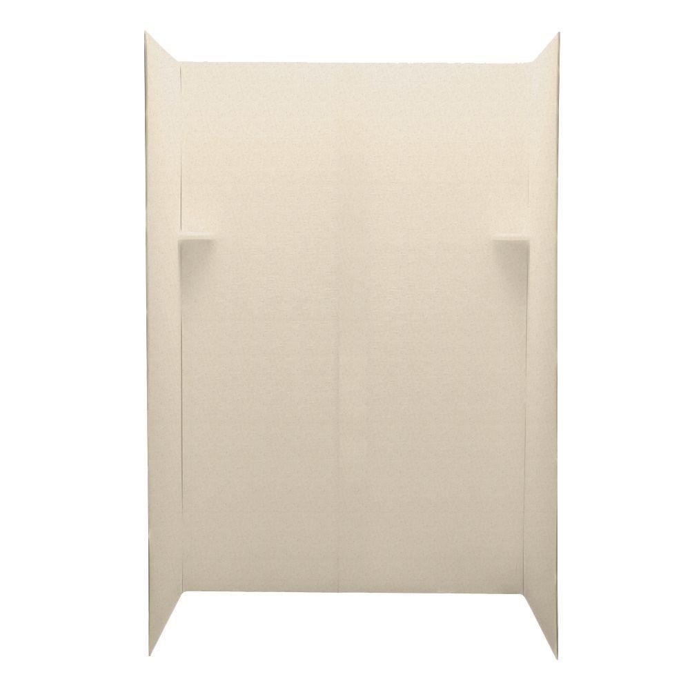 Swanstone Pebble 34 in. x 60 in. x 72 in. Five Piece Easy Up Adhesive Shower Wall Kit in Tahiti Sand-DISCONTINUED
