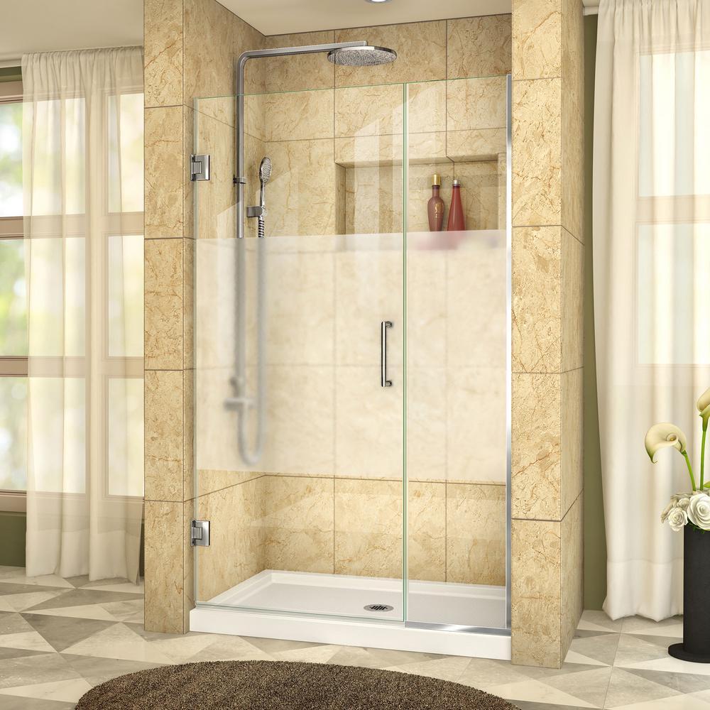 Unidoor Plus 40 to 40.5 in. x 72 in. Frameless Hinged Shower Door in Chrome