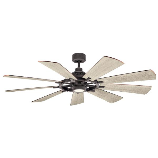 Gentry 65 in. Integrated LED Indoor Weathered Zinc Downrod Mount Ceiling Fan with Light Kit and Wall Control
