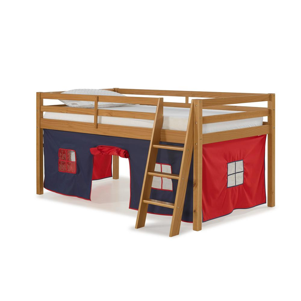 Alaterre Furniture Roxy Cinnamon Junior Loft Bed With Blue And Red