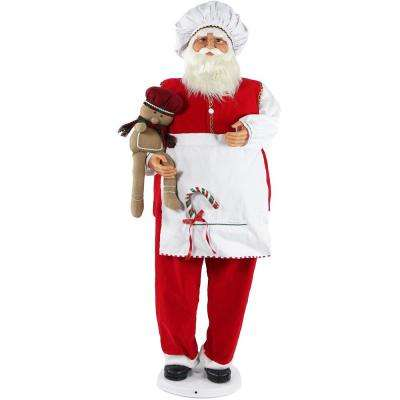 58 in. Christmas Dancing Santa in Baking Outfit with Gingerbread Boy and Candy Cane