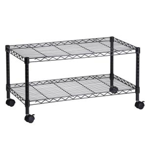 Honey-Can-Do 2-Tier Steel Wire Rolling Media Cart in Black by Honey-Can-Do