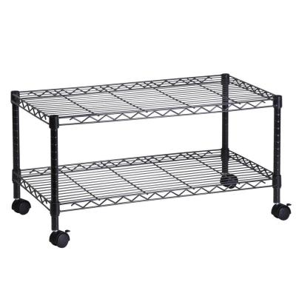2-Tier Steel Wire Rolling Media Cart in Black