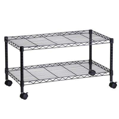 2-Tier Steel Wire Rolling Media Cart in Black