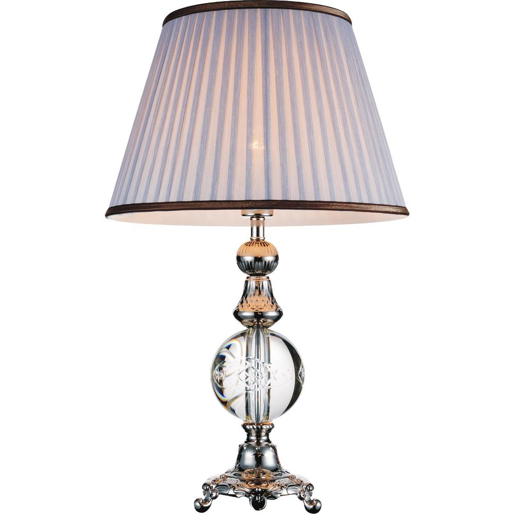Brushed Nickel Table Lamp With Grey Shade