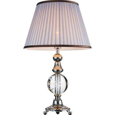 Yale 26 in. Brushed Nickel Table Lamp with Grey Shade