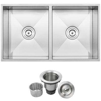 Pacific Zero Radius Undermount 16-Gauge Stainless Steel 31.25 in. 50/50 Double Basin Kitchen Sink with Basket Strainer