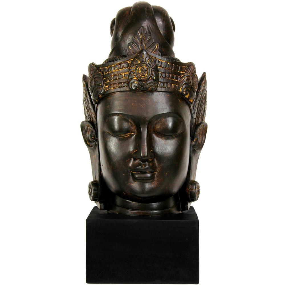 Oriental Furniture 16 in. Cambodian Buddha Head Decorative Statue