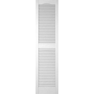 12 in. W x 80 in. H Louvered Vinyl Exterior Shutters Pair Paintable