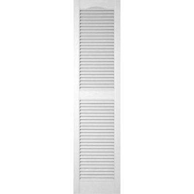 14-1/2 in. x 80 in. Lifetime Vinyl Standard Cathedral Top Center Mullion Open Louvered Shutters Pair Paintable