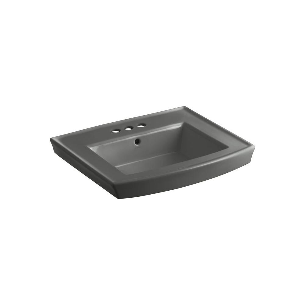 Archer 4 in. Vitreous China Pedestal Sink Basin in Thunder Grey