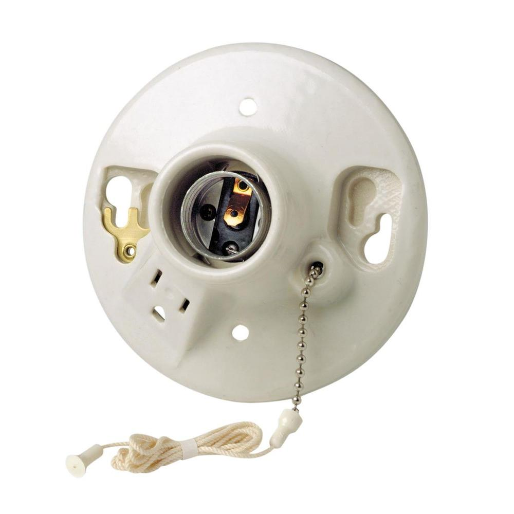Leviton Porcelain Lamp Holder With Pull Chain And Outlet R60 09726 00c The Home Depot