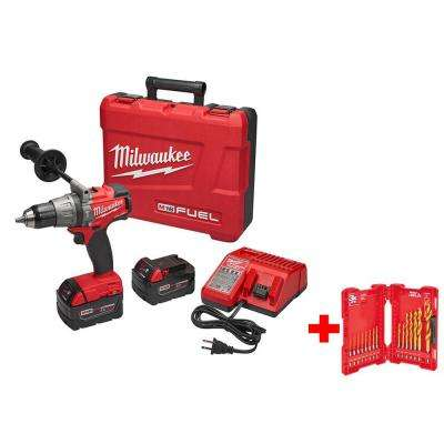 M18 FUEL 18-Volt Cordless Lithium-Ion Brushless 1/2 in. Hammer Drill/Driver XC Kit with Titanium Shockwave Drill Bit Kit