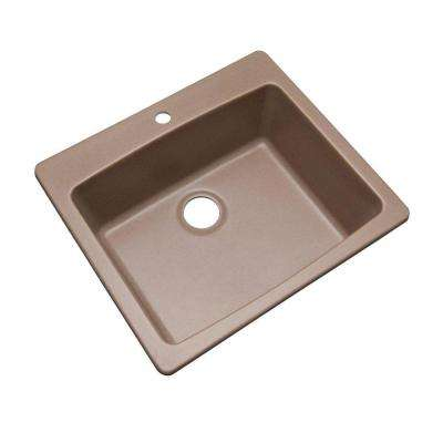 Northbrook Dual Mount Composite Granite 25 in. 1-Hole Single Bowl Kitchen Sink in Natural