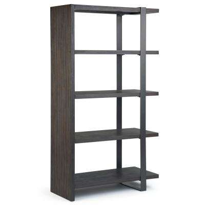 Montgomery Solid Acacia Wood and Metal 66 in. x 36 in. Modern Industrial Bookcase in Distressed Dark Brown