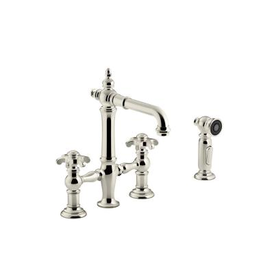 Artifacts 2-Handle Bridge Kitchen Faucet with Prong Handles in Vibrant Polished Nickel