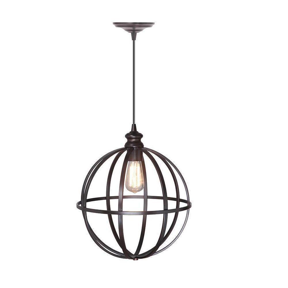 Home Decorators Collection Globe 1-Light Bronze Pendant with Hardwire