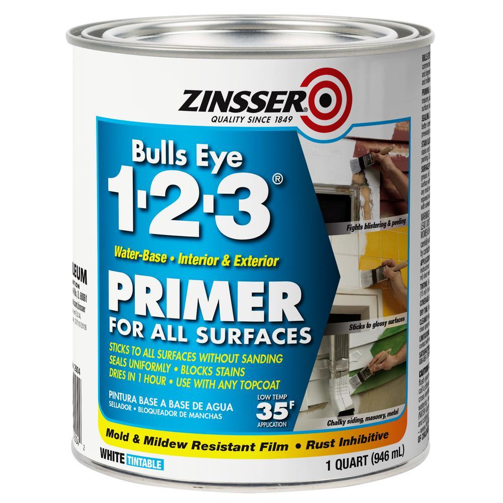Zinsser Bulls Eye 1-2-3 1 qt. White Water-Based Interior/Exterior Primer and Sealer (6-Pack)