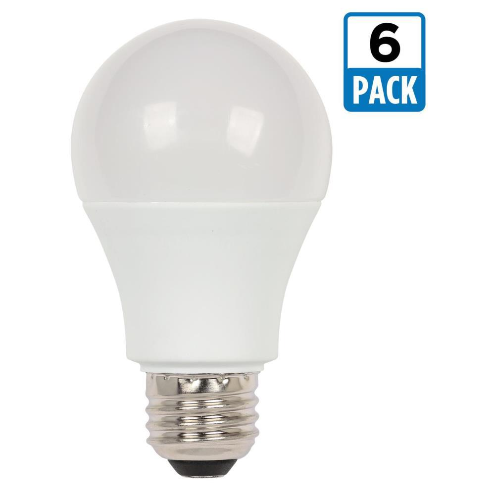 westinghouse 100w equivalent daylight a19 led light bulb 6 pack 4514220 the home depot. Black Bedroom Furniture Sets. Home Design Ideas