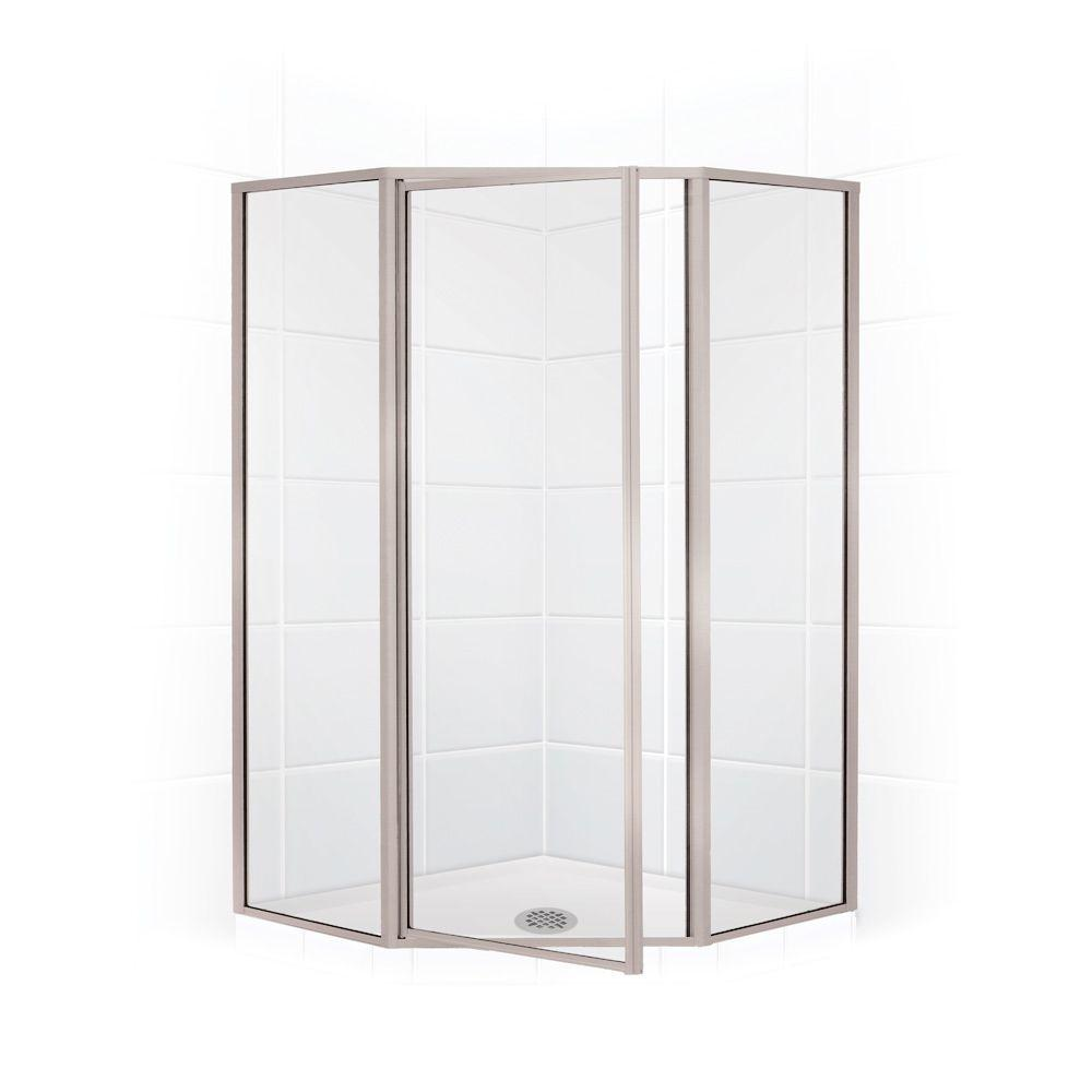 Coastal Shower Doors Legend Series 59 in. x 70 in. Framed Neo-Angle Swing Shower Door in Brushed Nickel and Clear Glass