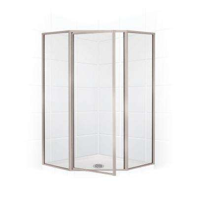Legend Series 62 in. x 66 in. Framed Neo-Angle Swing Shower Door in Brushed Nickel and Clear Glass