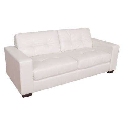 Club Tufted White Bonded Leather Sofa