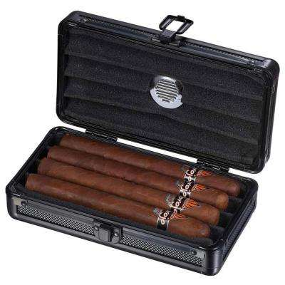 Setke Black Travel Cigar Case - Holds 4 Cigars