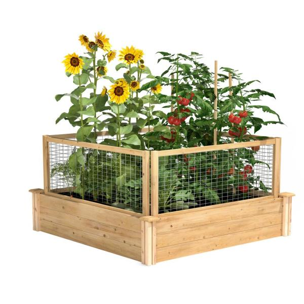 4 ft. x 4 ft. x 10.5 in. Original Cedar Raised Garden Bed with CritterGuard Fence System