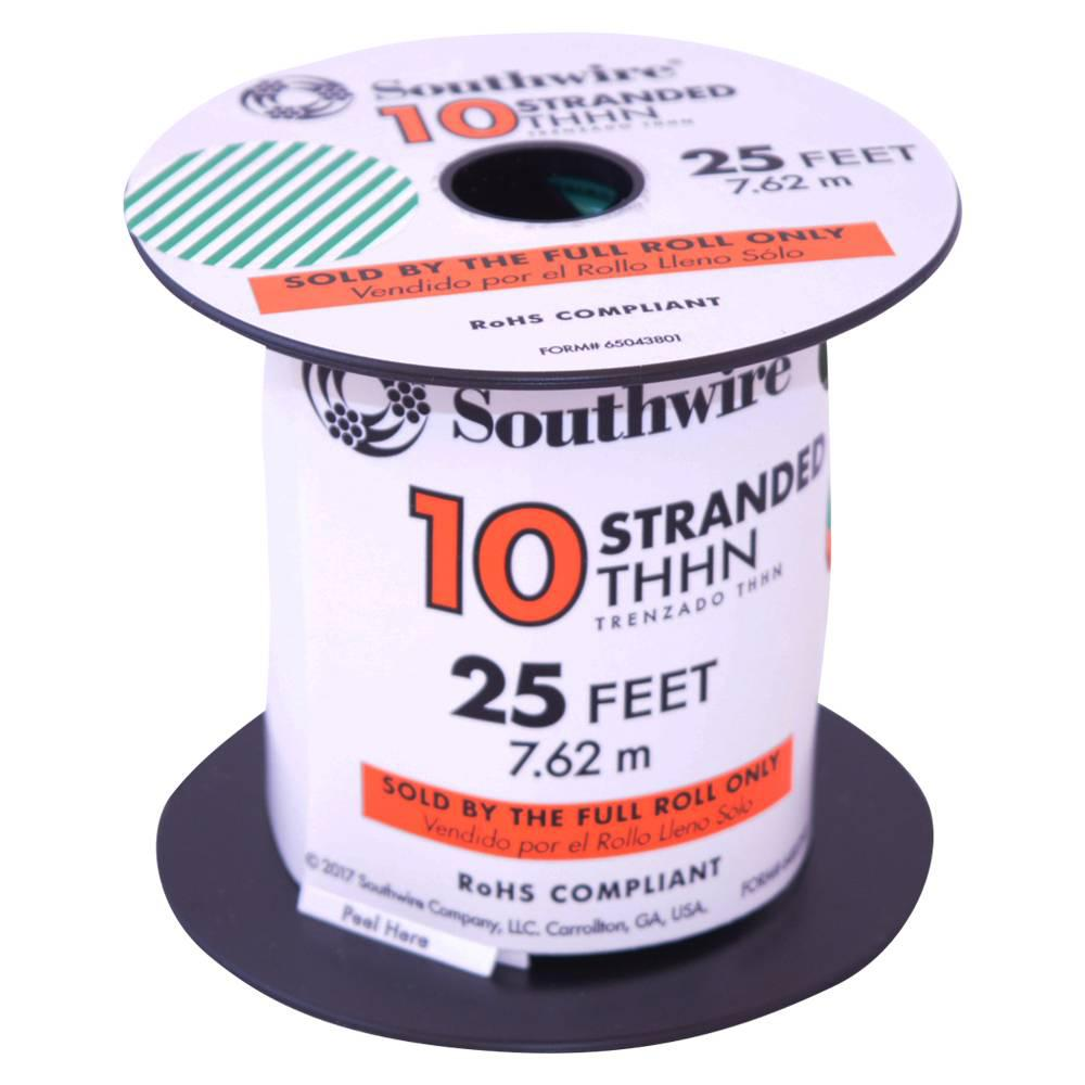 Southwire 25 ft. 10 Green Stranded CU THHN Wire