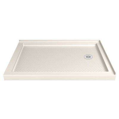SlimLine 36 in. D x 60 in. W Double Threshold Shower Base in Biscuit with Right Hand Drain
