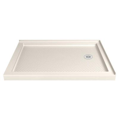 SlimLine 36 in. D x 54 in. W Double Threshold Shower Base in Biscuit, Right Drain
